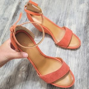 Seychelles leather suede coral wedges